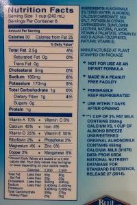 Blue Diamond Almond Milk Ingredients