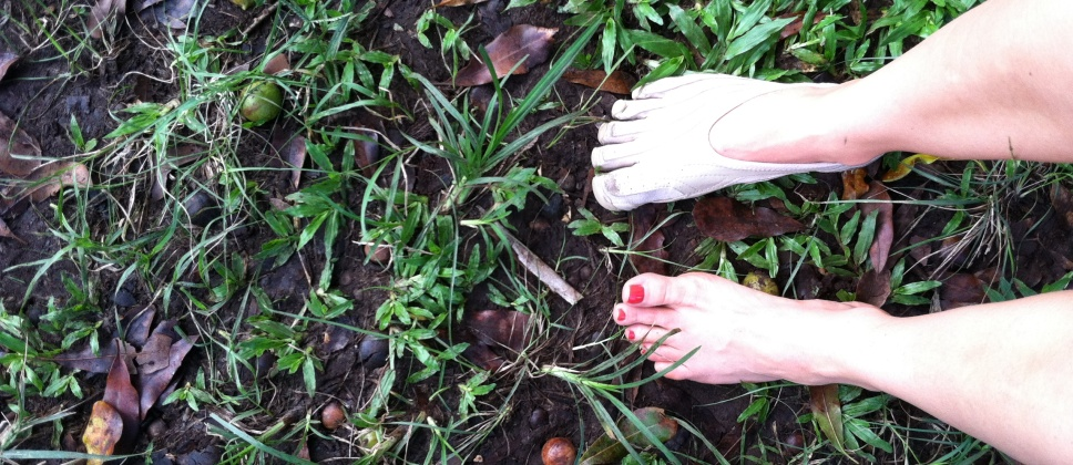 galina barefoot on grass in hawaii restorative exercise