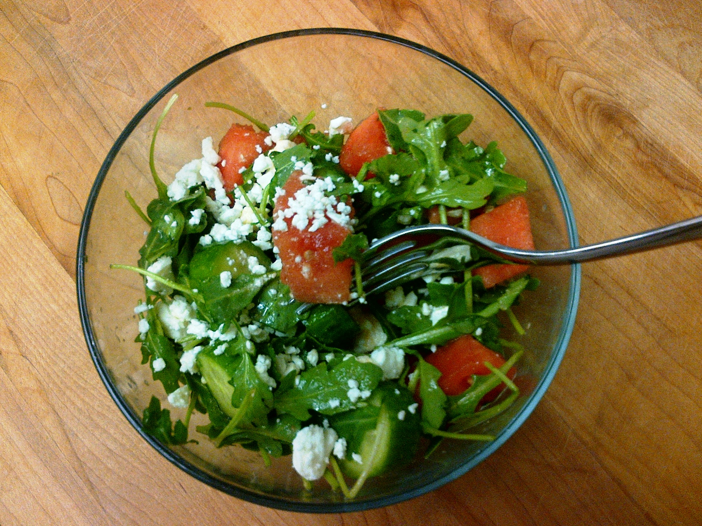 rocket arugula basil cucumber feta salad