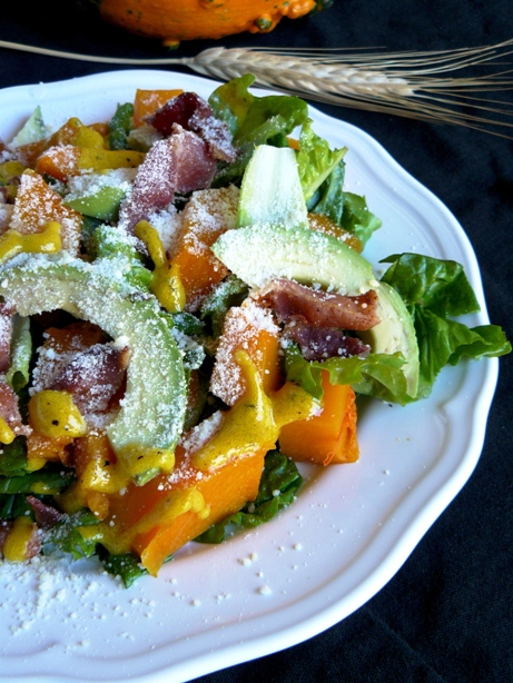 butter nut squash avocado and bacon salad by the Fit Ink