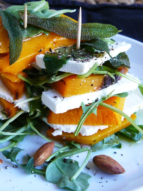 butter nut squash feta cheese and arugula salad by the Fit Ink